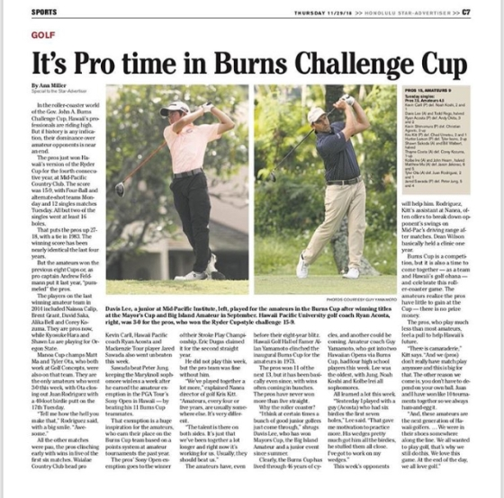 Burns Challenge Cup Hawaii Golf Ryan Acosta